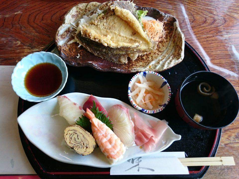 魚庄 ランチ 寿司 カレイの唐揚