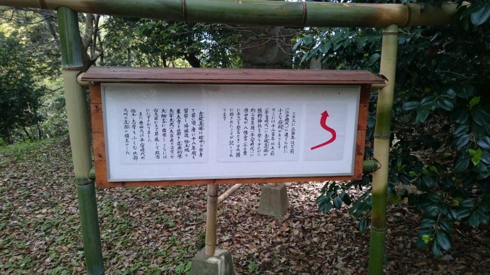 熊野神社の祠への案内図