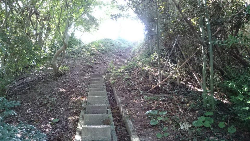 火山 階段登る