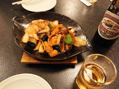 糸島温泉 まむしの湯 ホルモン味噌炒め
