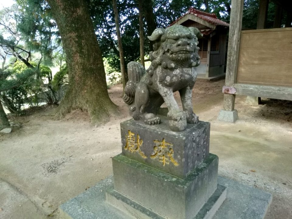 雉琴神社 狛犬吽像