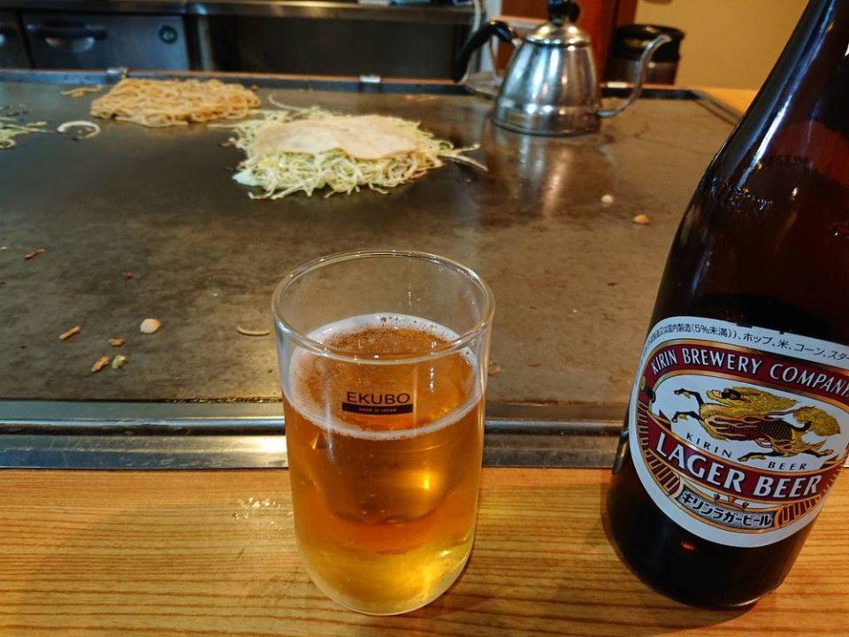 広島お好み焼き きゃべつ ビール