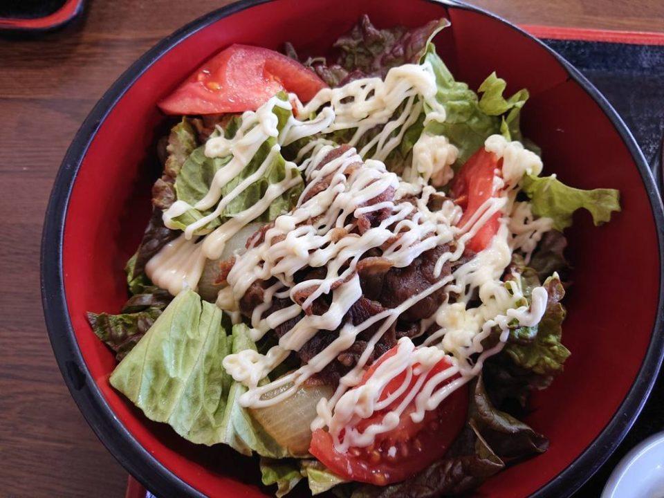 伊都菜彩 まるいとうどん サラダ牛丼