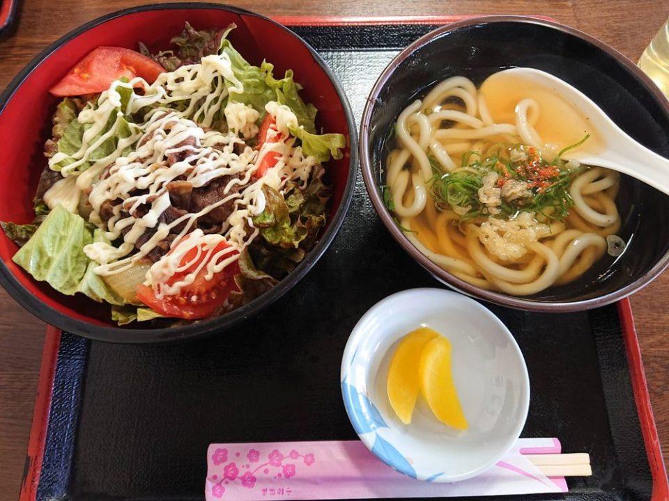 伊都菜彩 まるいとうどん サラダ牛丼うどん定食