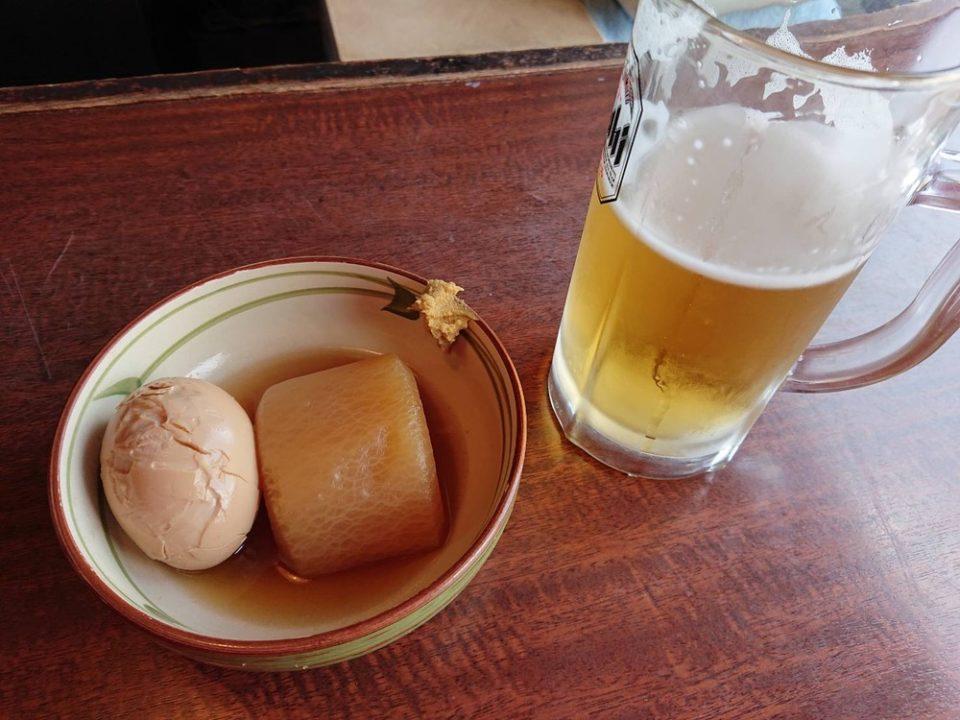 角打ち屋磯金(門司港)ビールとおでん