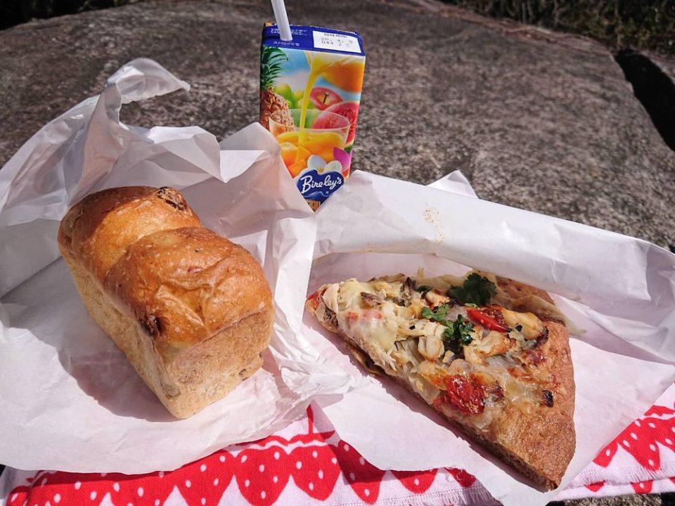 ブルージャム サバとパクチーのピザとぶどうパン